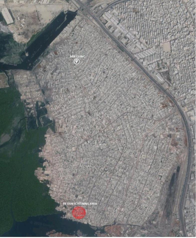 Map of MSF's activity in Machar Colony taken from Google maps
