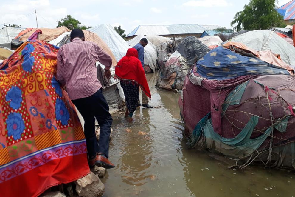 A flooded camp for internally displaced people in the Beledweyne district of central Somalia