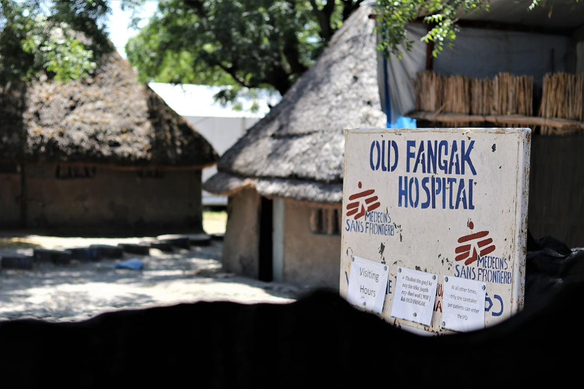 Sign outside of the MSF hospital in Old Fangak, South Sudan