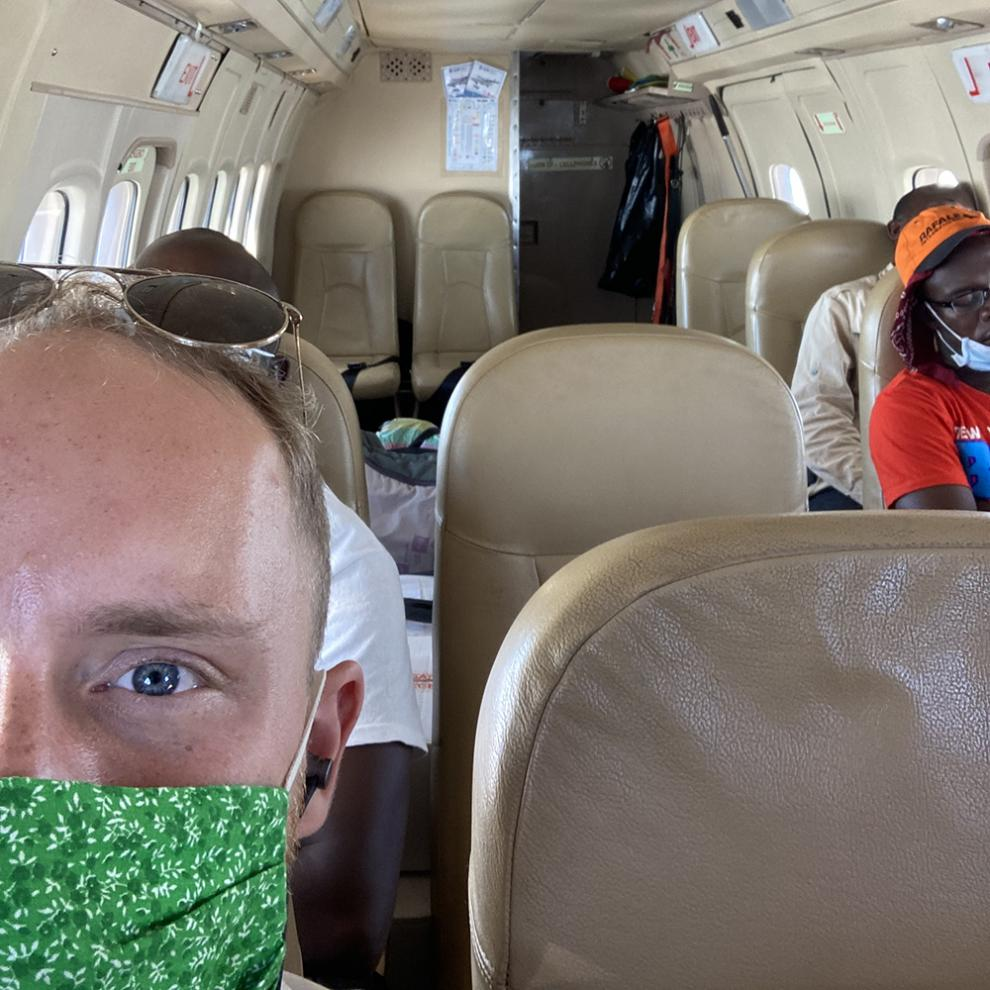 Dale on the plane to Bangui