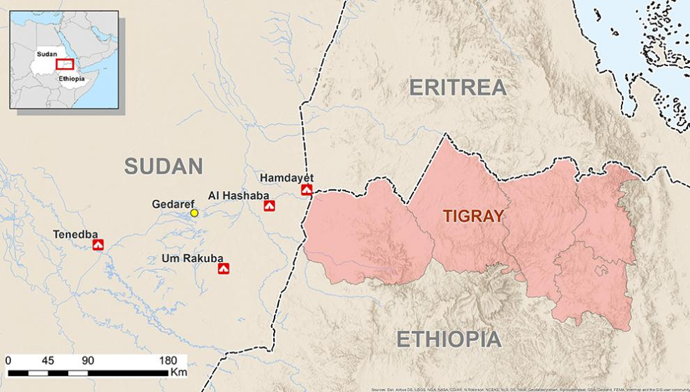Map showing the location of the refugee camps, close to the Sudanese-Ethiopian border