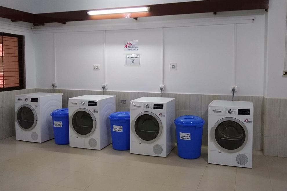 Part of the new laundry facilities at the hospital