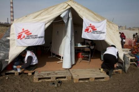 MSF staff prepare for the rush of patients at a mobile clinic for IPDs in Kabul.