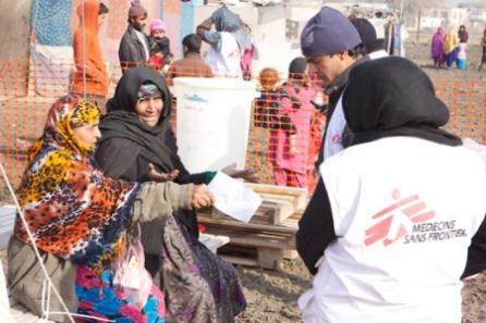 Women explain the challenges of living in makeshift camps in Kabul to MSF staff.
