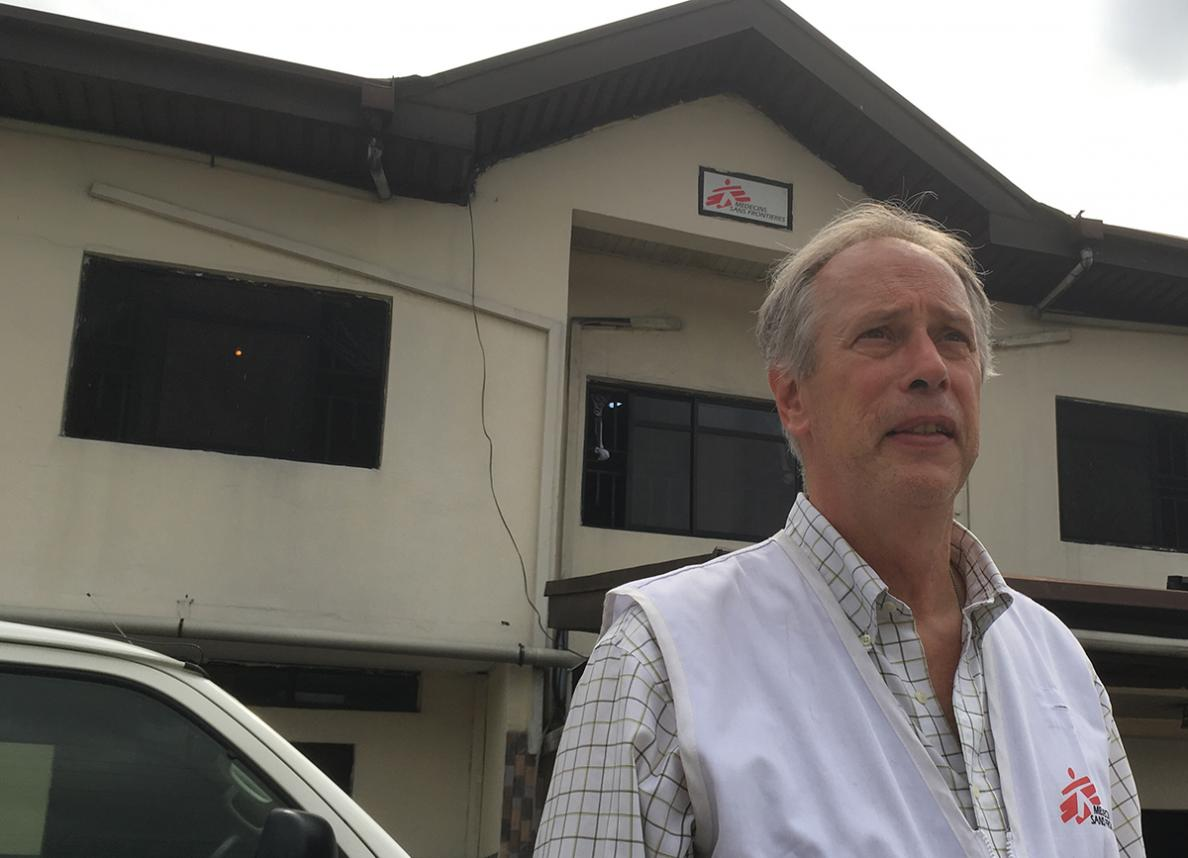 Russ Filby outside of the MSF Orugbum clinic, Nigeria