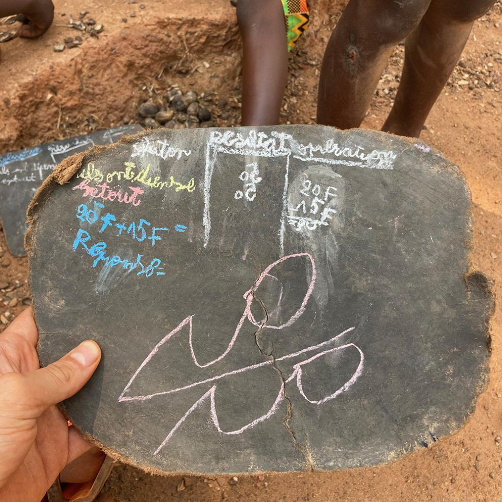 A slate used in a school