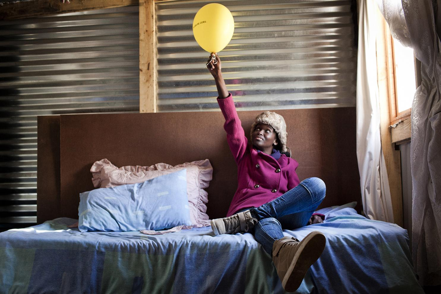 Phumeza Tisile, 23 years, at her home in Khayelitsha, South Africa on August 16, 2013, the day she celebrated her cure from XDR-TB