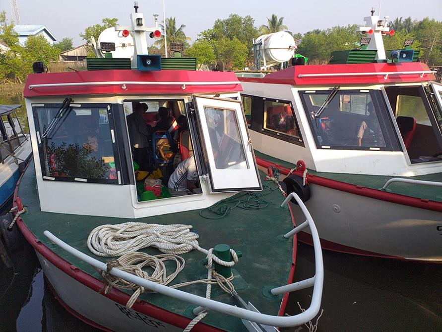 The speedboats used by MSF teams to reach Rohingya communities