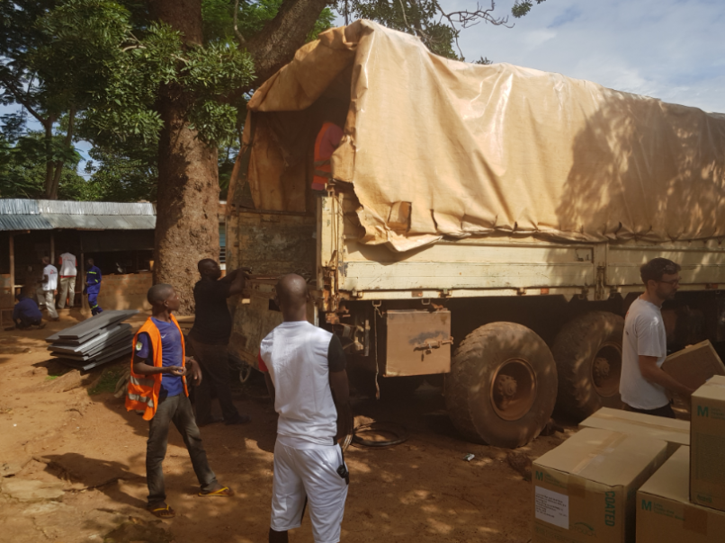 Unloading a truck full of MSF supplies