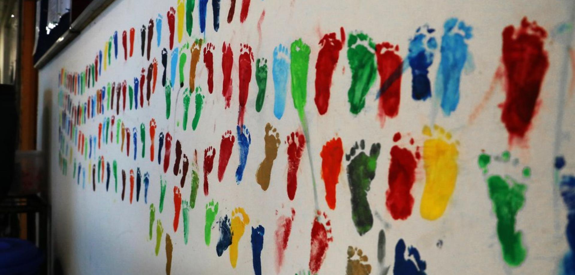The footprints of babies who have been discharged after treatment at the MSF Goyalmara Mother and Child hospital in Cox's Bazar, Bangladesh