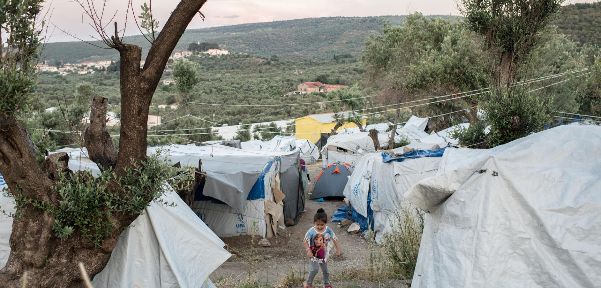 "With Moria camp so full, refugees are now staying in an informal extension of the camp known as ""Olive Grove""."