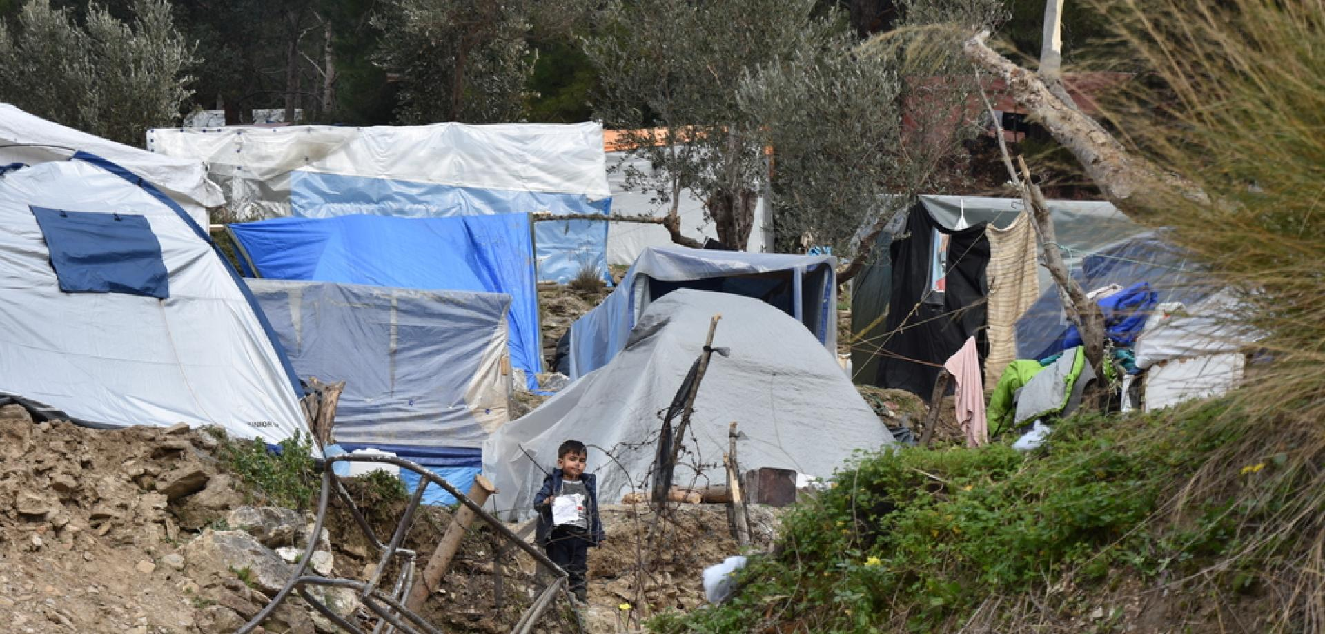 Vathy refugee camp on Samos was built for 650 people but currently hosts about 8,000