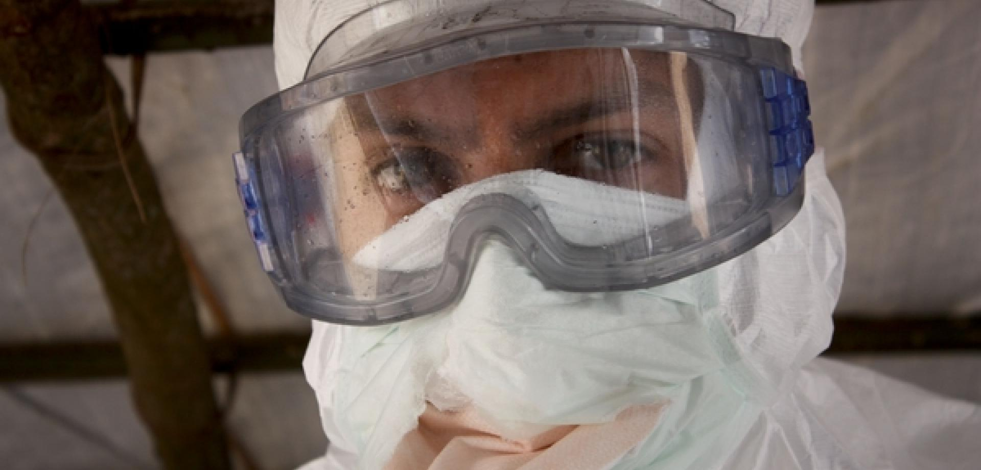 Luis Encinas wearing his protective gear at an Ebola treatment centre