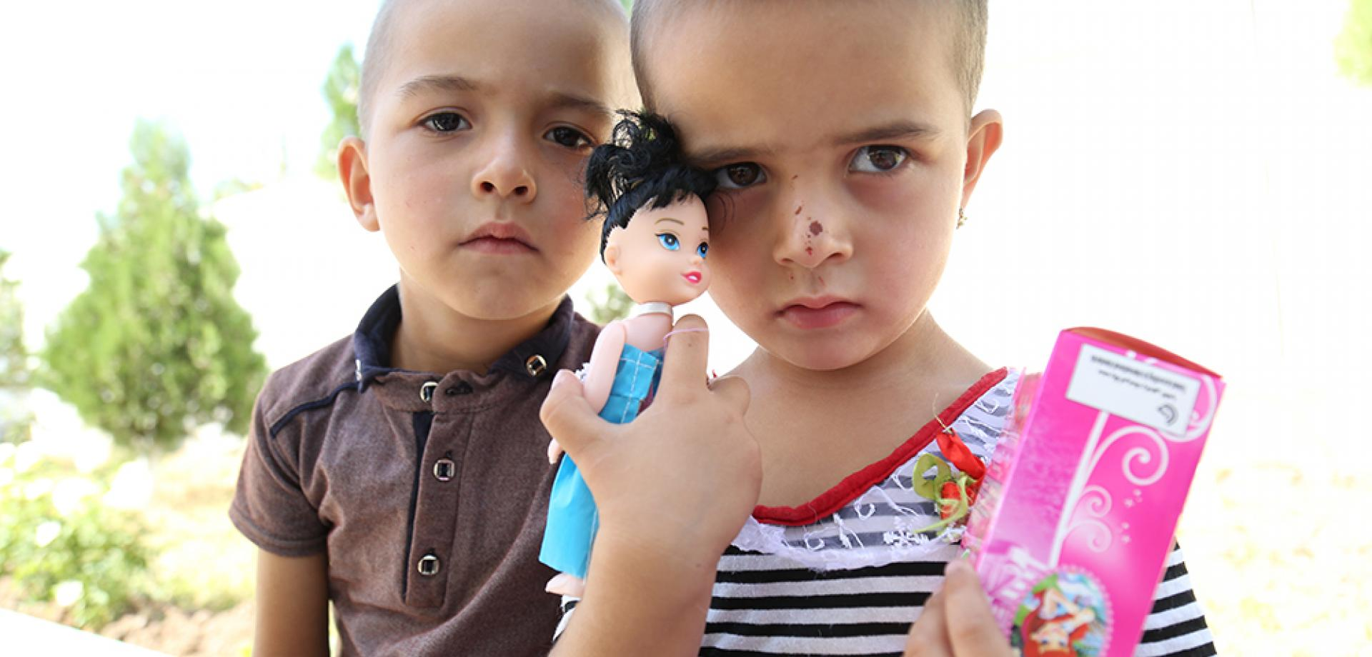 These two children have been treated for tuberculosis at the MSF-supported hospital in Machiton, Tajikistan