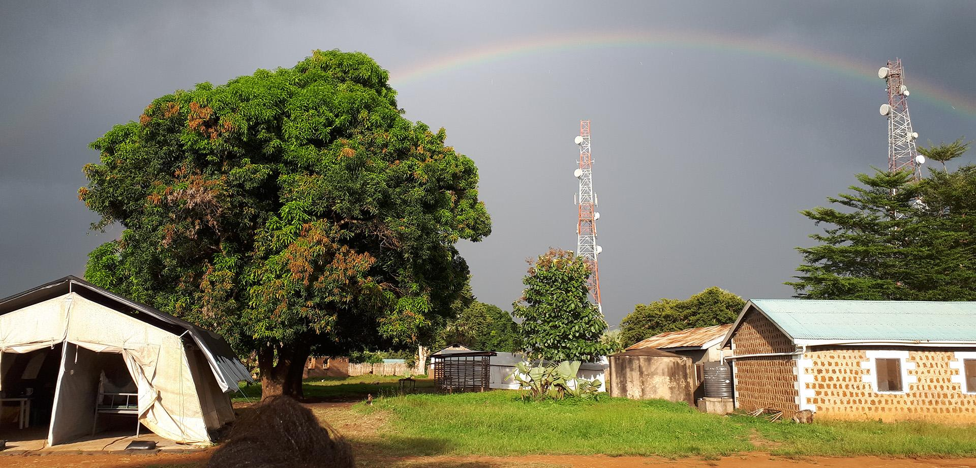 A rainbow over the MSF hospital at Mundri in South Sudan