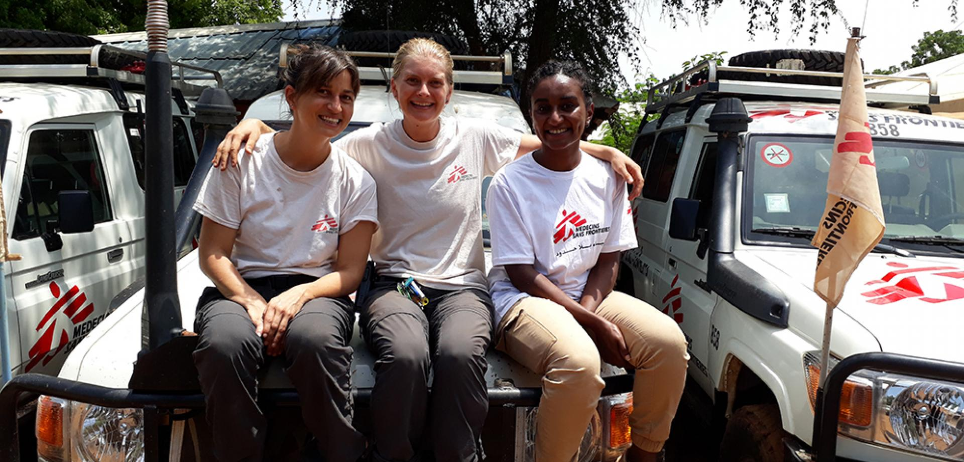 Karla Claus (centre) with her fellow female logistics supervisors, Marine Leloup and Mariam Mahgoub