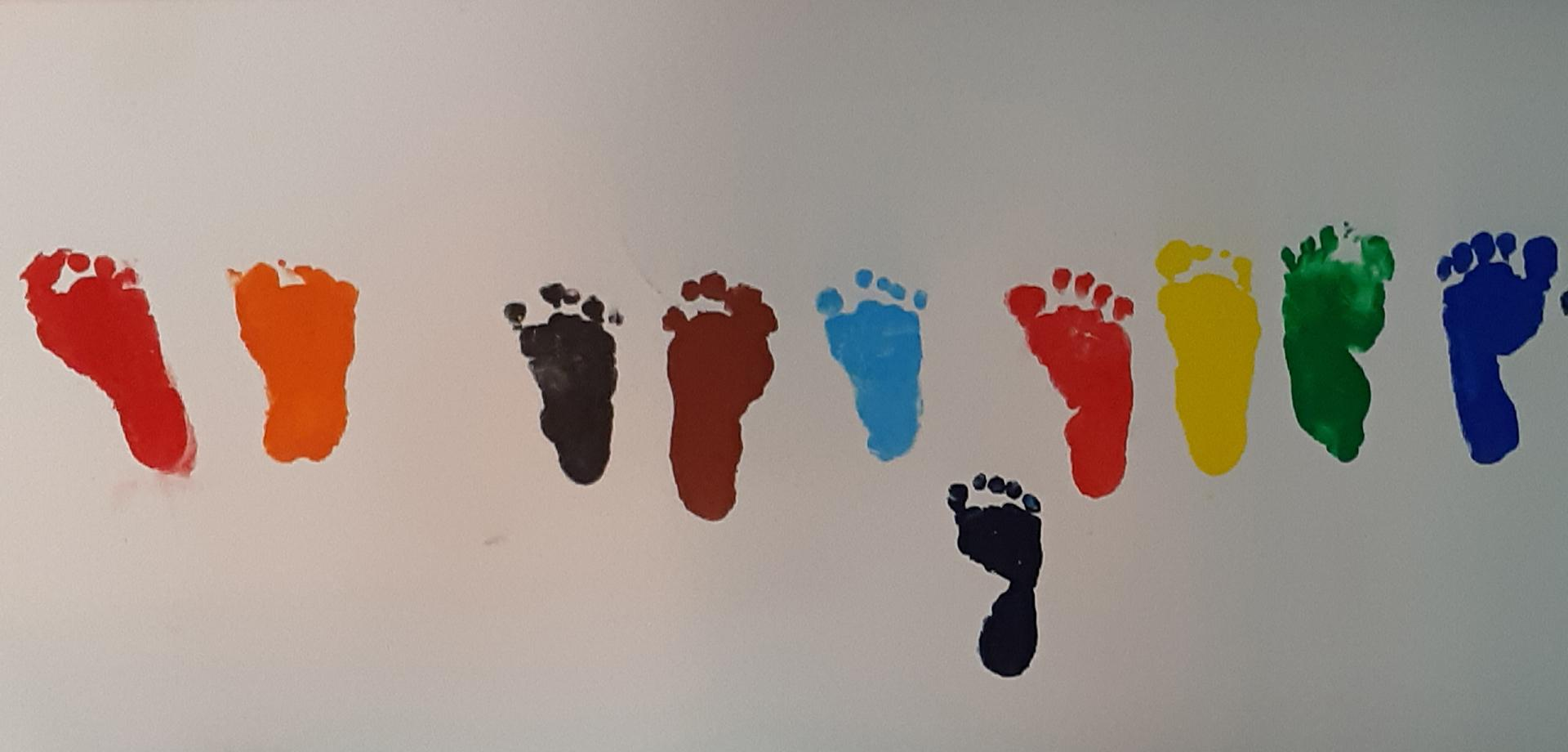Footprints from children treated at Goyalmara hospital in Bangladesh