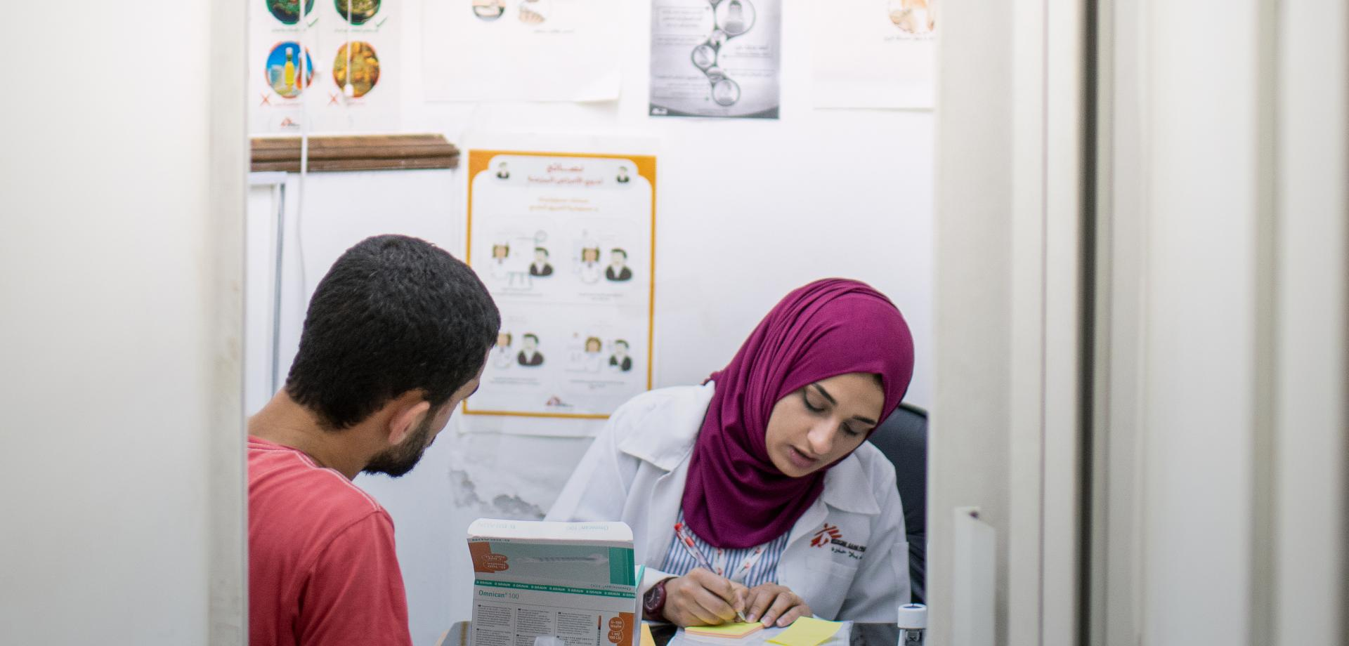 A Jordanian nurse and patient