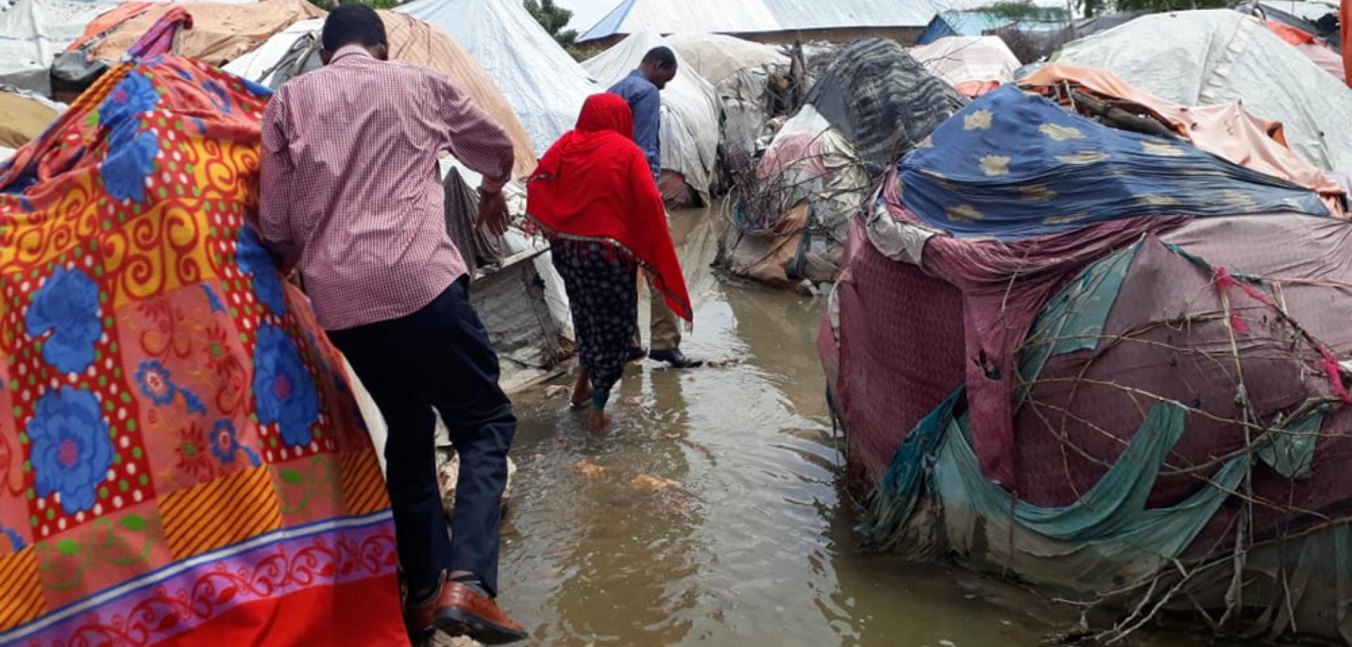 A flooded camp for internally displaced people in the Beledweyne district of central Somalia.