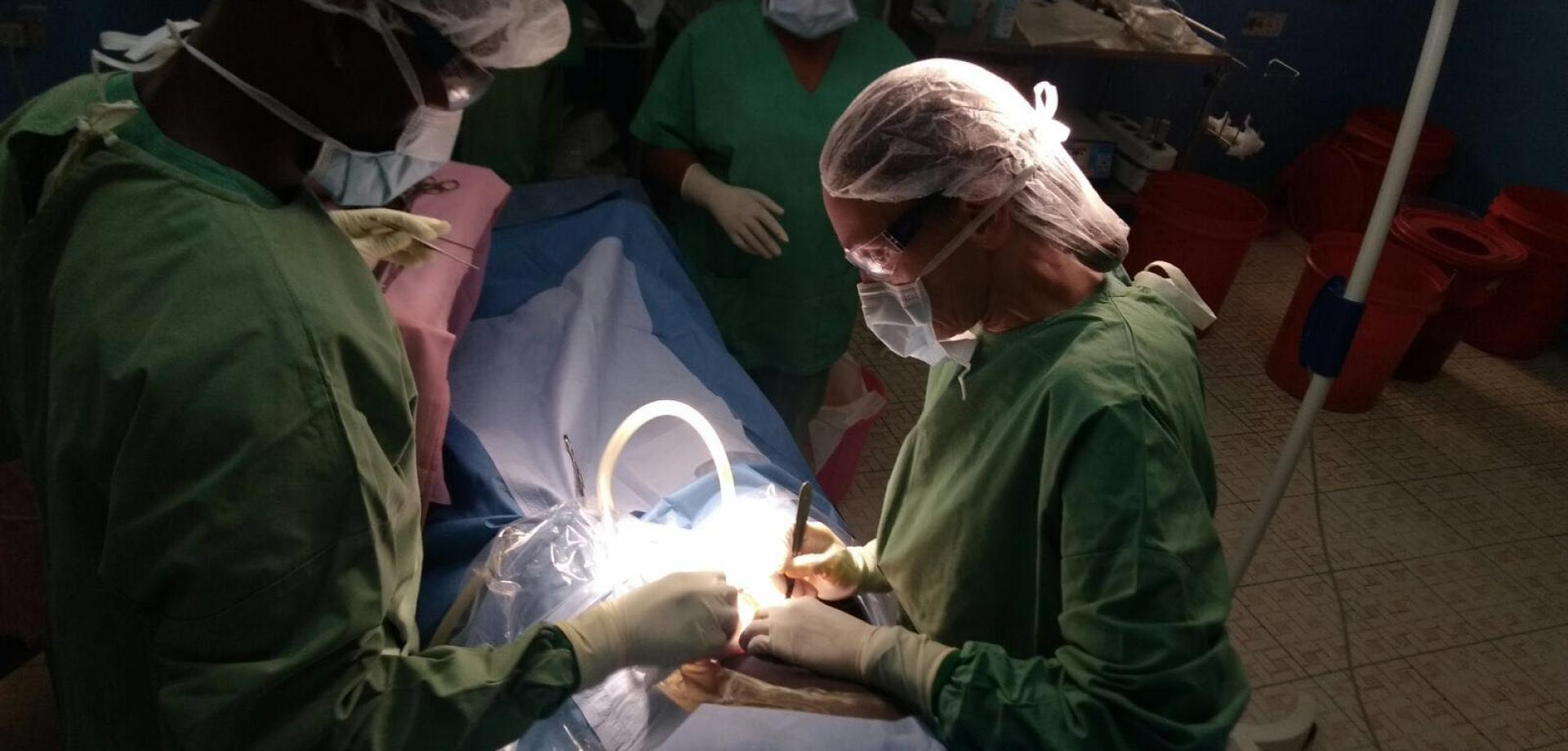 Heidi at work in the operating theatre