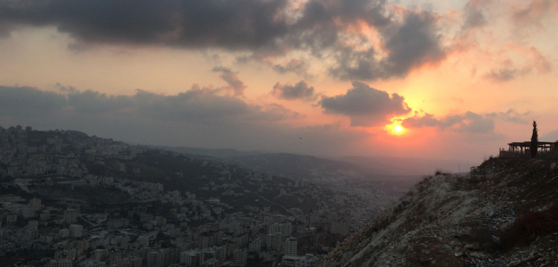 Sunset over Nablus in the West Bank