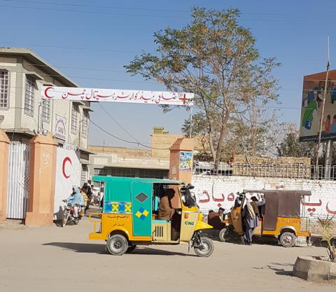 The entrance to the hospital in Chaman.