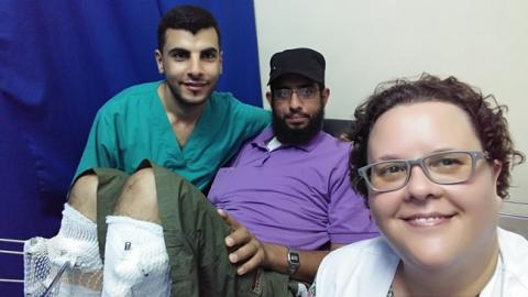 Fadi and Annke at  the Khan Younis Clinic